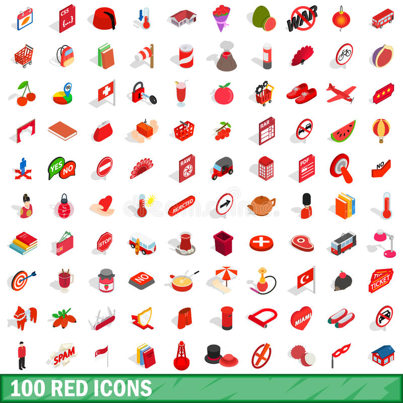 100 red icons set, isometric 3d style royalty free illustration
