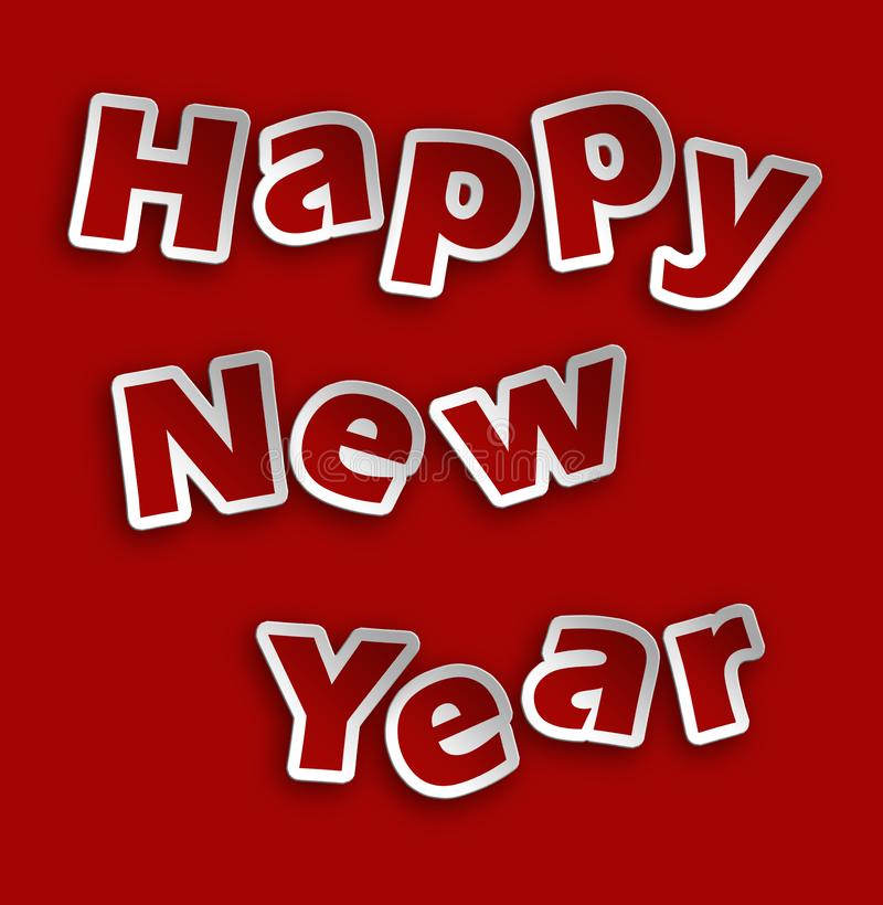 Happy new year illustration with relief writing stock illustration
