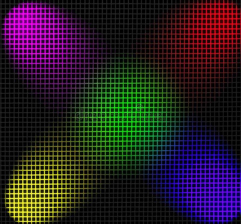 Red iluminada por los proyectores del color libre illustration
