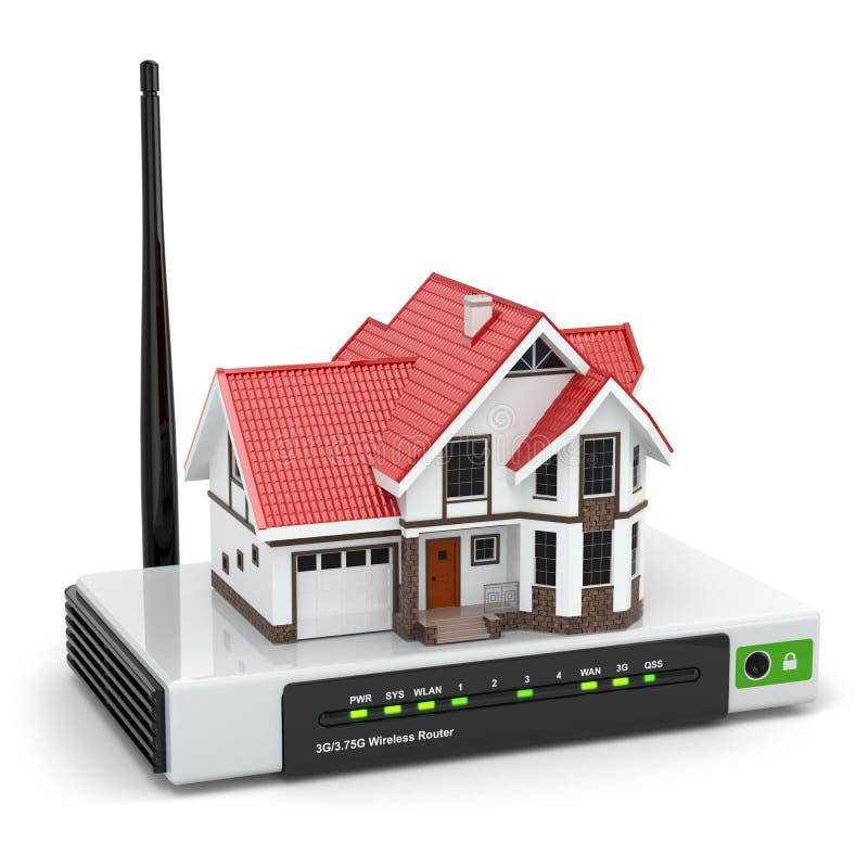 Red inalámbrica casera. Casa en el router de Wi-Fi. stock de ilustración