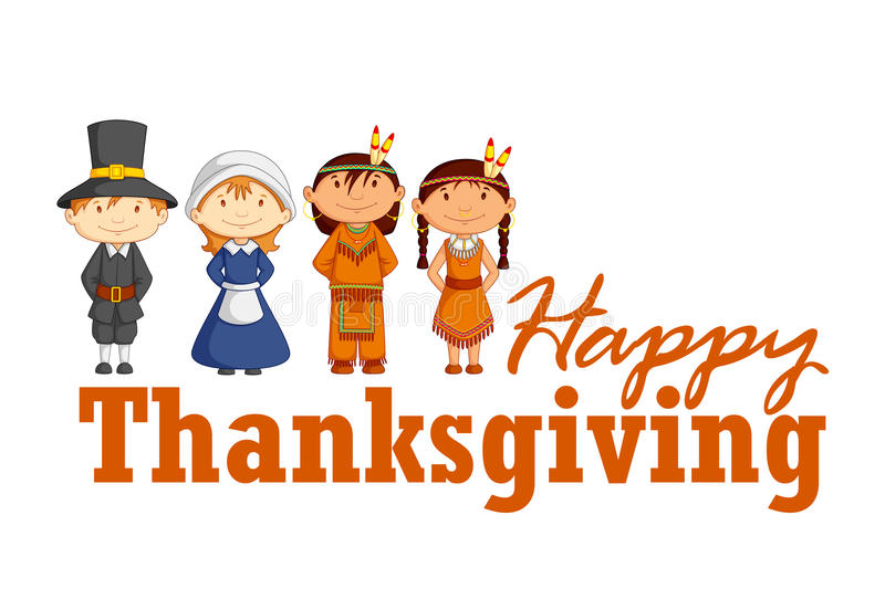 Red Indian wishing Thanksgiving. Vector illustration of Red Indian wishing Happy Thanksgiving
