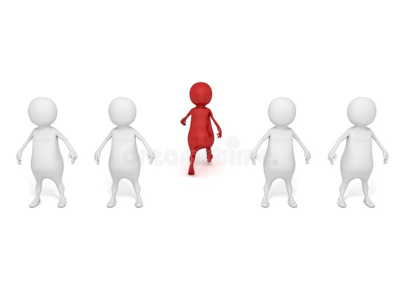Red individual 3d man walking out of white crowd