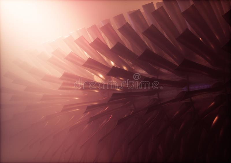 Red industrial steam turbine / engine rotor with blades in warm. Foggy environment. 3d illustration vector illustration