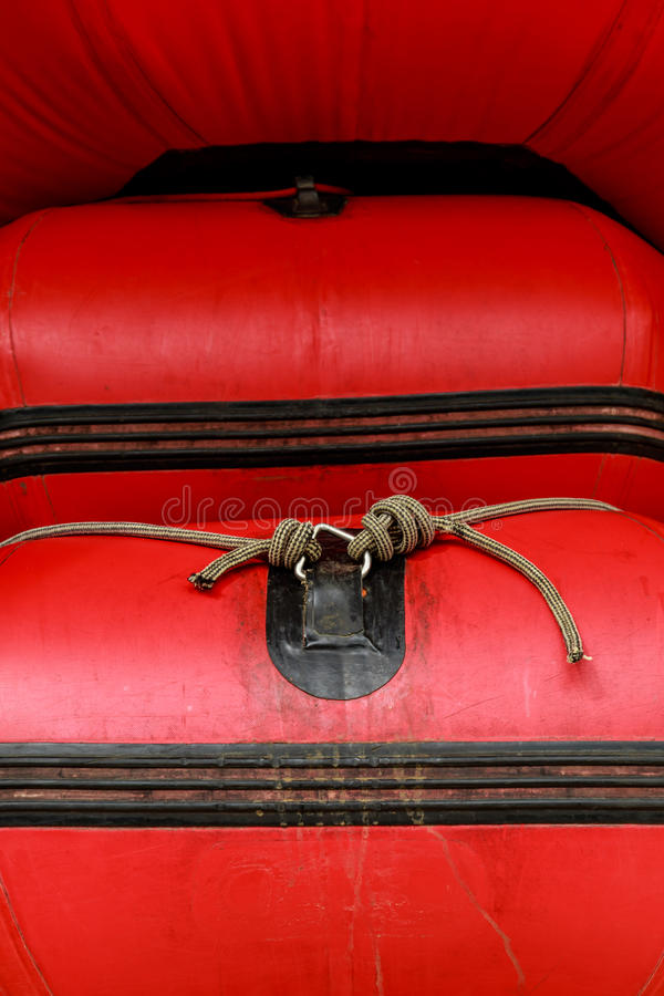 Red inflatable boat whit knot. Red inflatable boat white whit knot in Chiangmai, Thailand stock photography