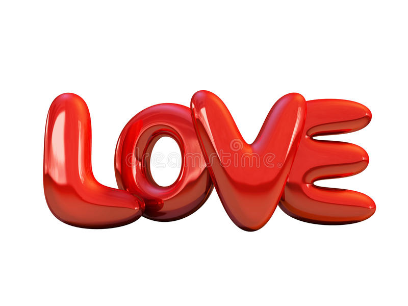 Red inflatable word love. 3D. Red inflatable word love over background with reflection. 3D rendering stock illustration