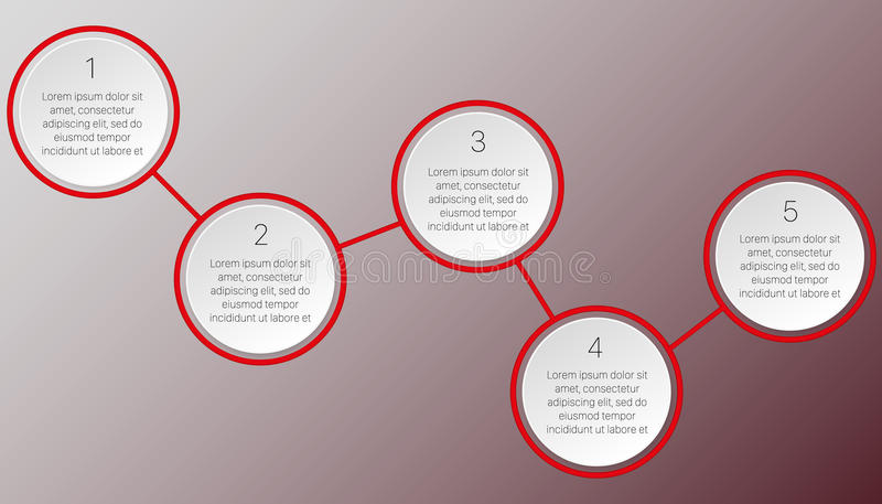Red infographics of two round blocks stock image