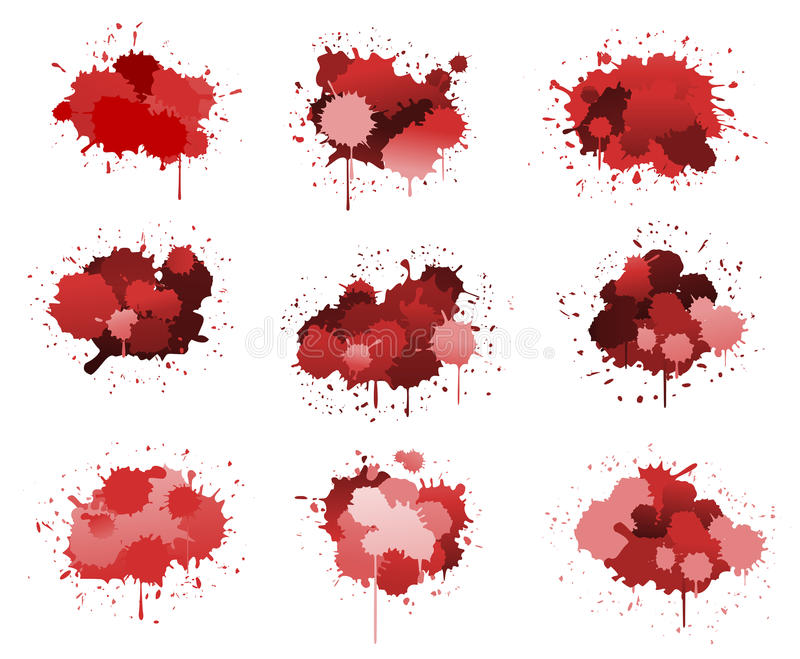 Red ink blobs. Isolated on white for design royalty free illustration