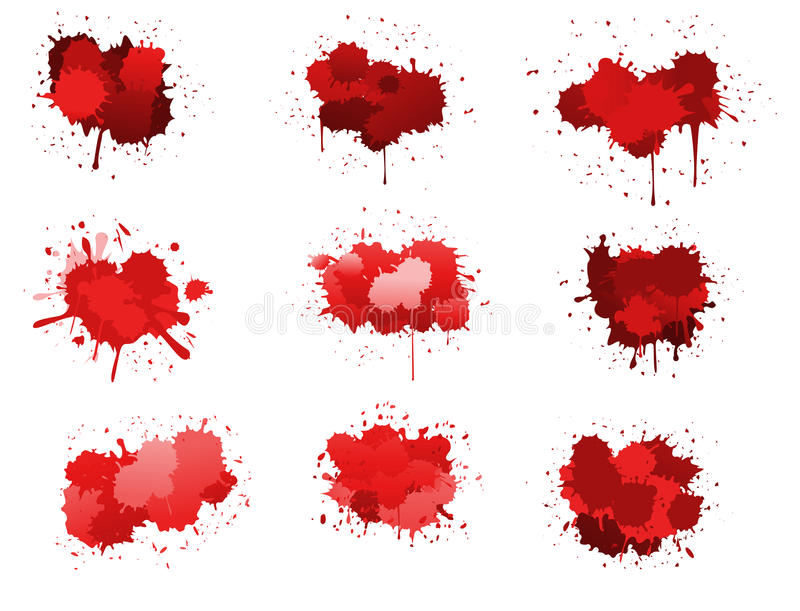 Red ink blobs. Isolated on white for design stock illustration