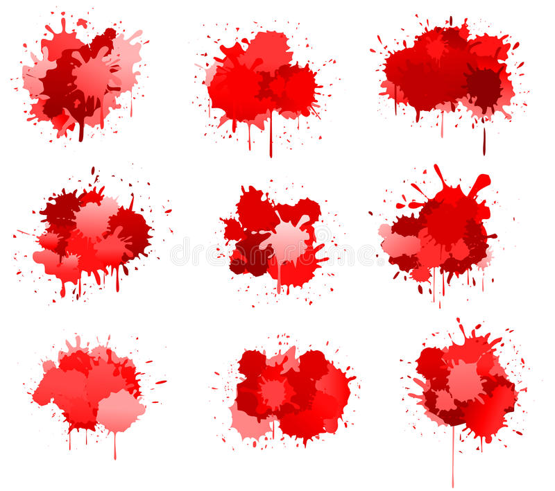 Red ink or blood blobs. Isolated on white for design stock illustration