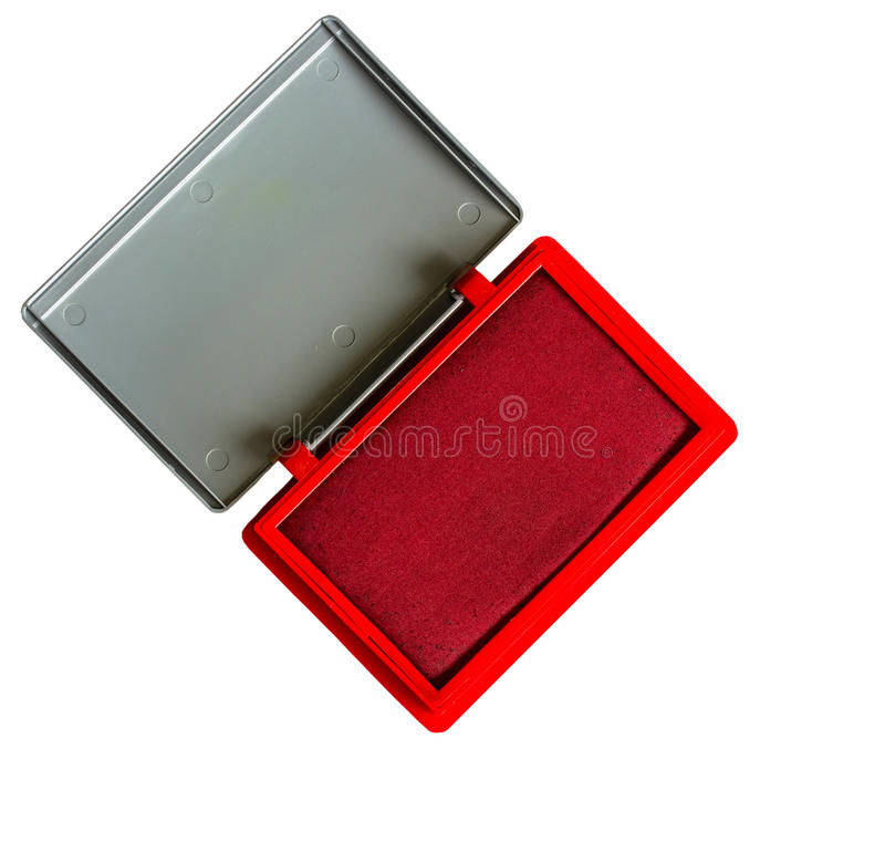 Red ink pad. Top view of an ink pad royalty free stock photography