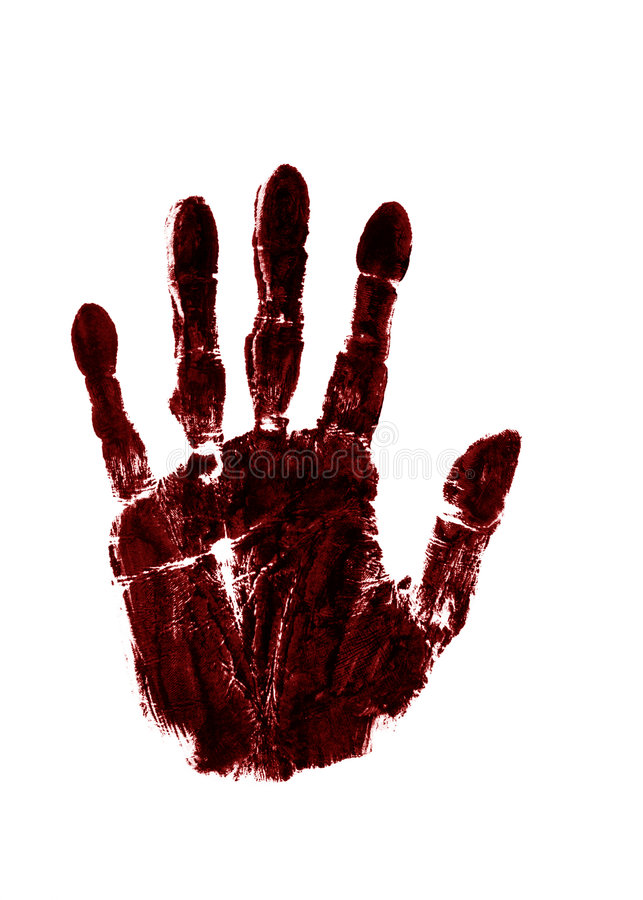 Red ink right hand. A red ink impression of right hand royalty free stock photos