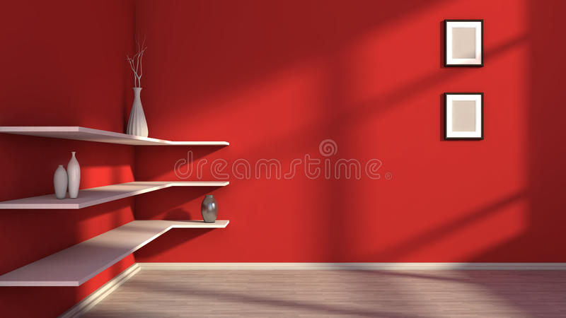 Red interior with white shelf and vases.  vector illustration
