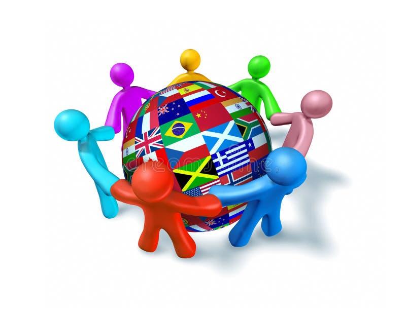 Red internacional de la cooperación del mundo ilustración del vector