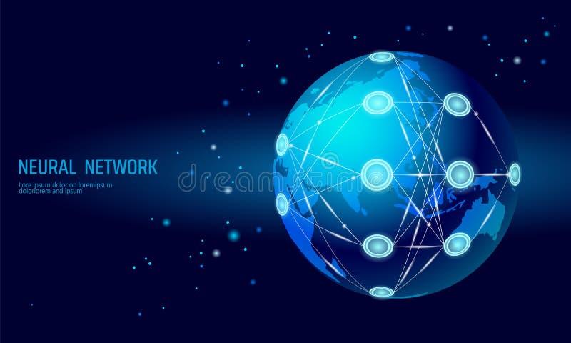 Red internacional de los nervios Red global de la neurona Profundamente aprendizaje de concepto cognoscitivo de la tecnología Art stock de ilustración