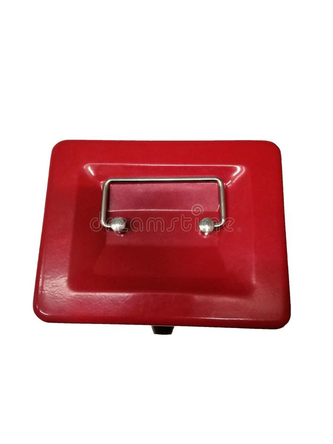 Red iron box with handle royalty free stock image