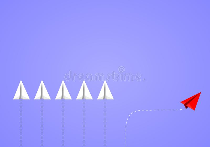 Red isometric paper plane changing direction from white team on blue background. stock illustration