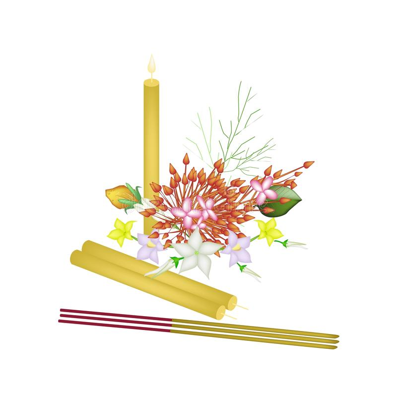 Red Ixora Flowers with Joss Sticks and Candle. Vector Illustration of Red Ixora Flowers, Egg Plant Flower and Burmuda Grass with Candle and Incense Sticks, A vector illustration