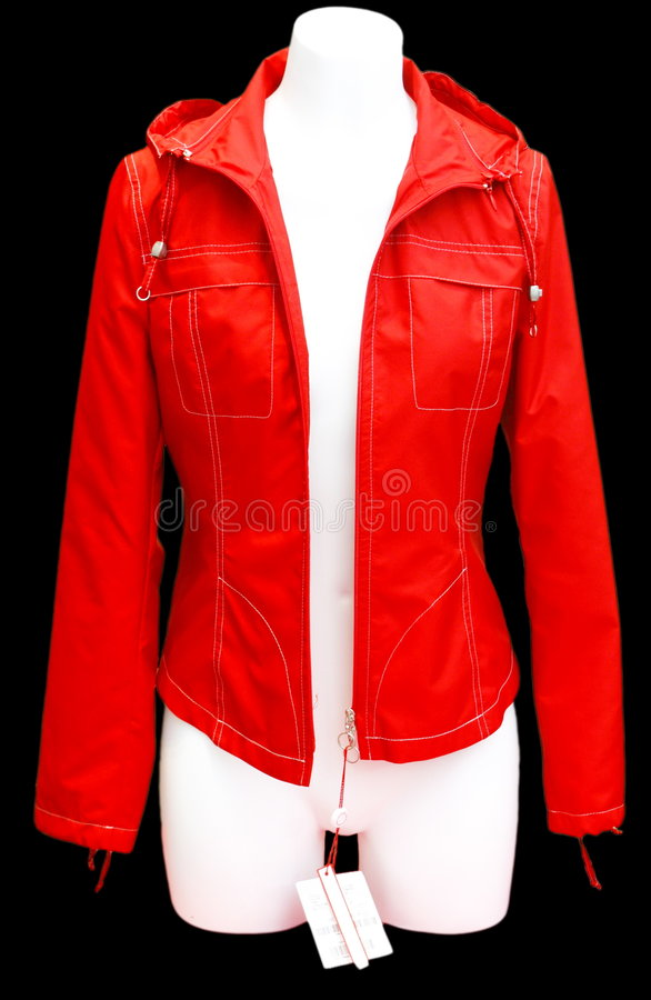 Red jacket. Isolated on black stock photos