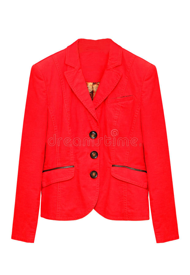 Red jacket. Red corduroy jacket isolated on a white background royalty free stock photography
