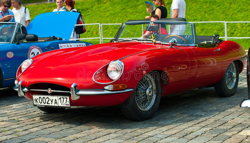 Red Jaguar E-Type. Modelyear 1963 Retro Car