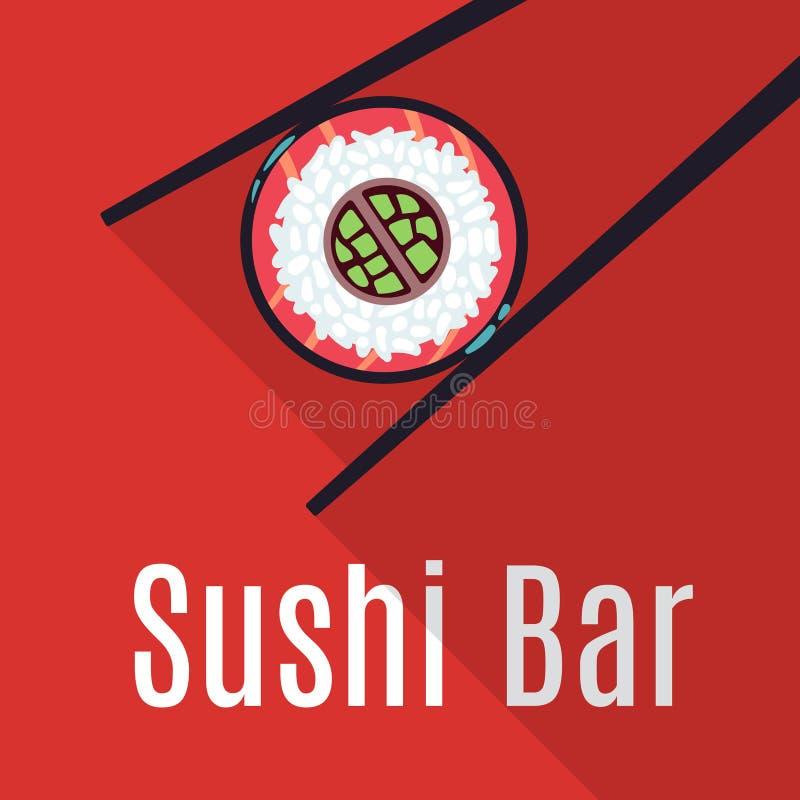 Red Japanese sushi bar food logo template. Restaurant logotype traditional, vector illustration stock illustration