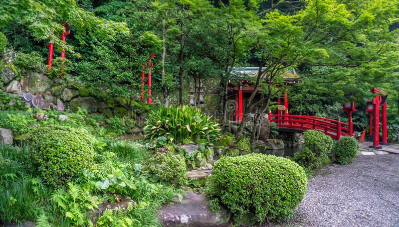 Red Japanese torii and shrine. Beppu, Japan stock images