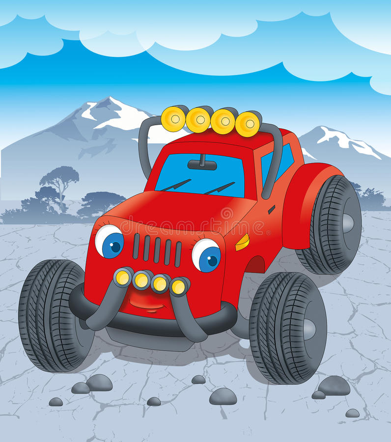 Red jeep on the road, cartoon royalty free illustration