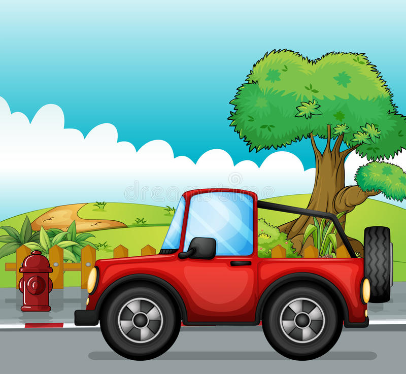 A red jeep at the street royalty free illustration
