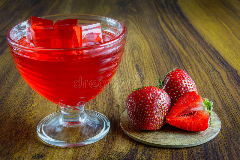 Red jelly with fruit. stock image