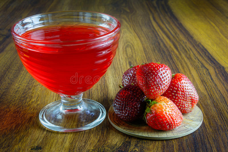 Red jelly with fruit. stock photos
