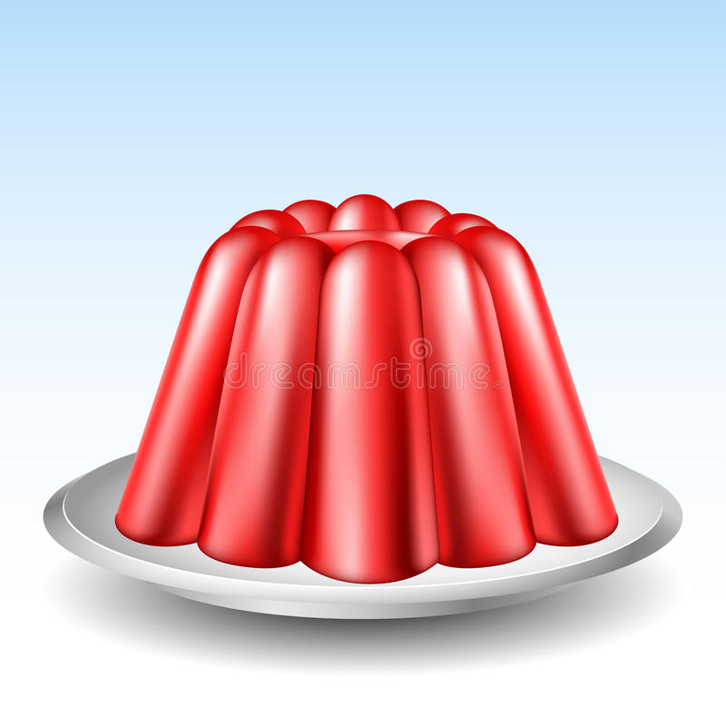 Red jelly pudding vector illustration