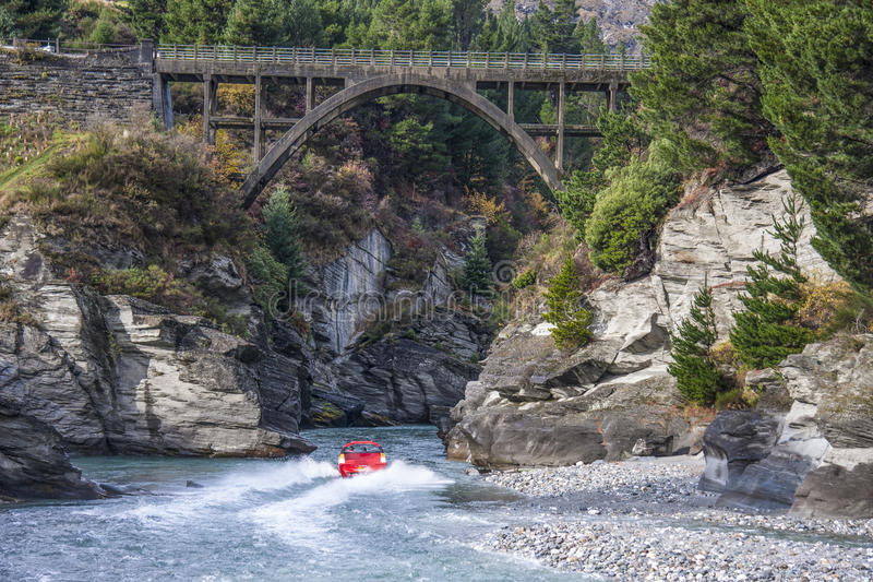 Red Jet Boat. On the Shotover River, Queenstown, New Zealand royalty free stock photos