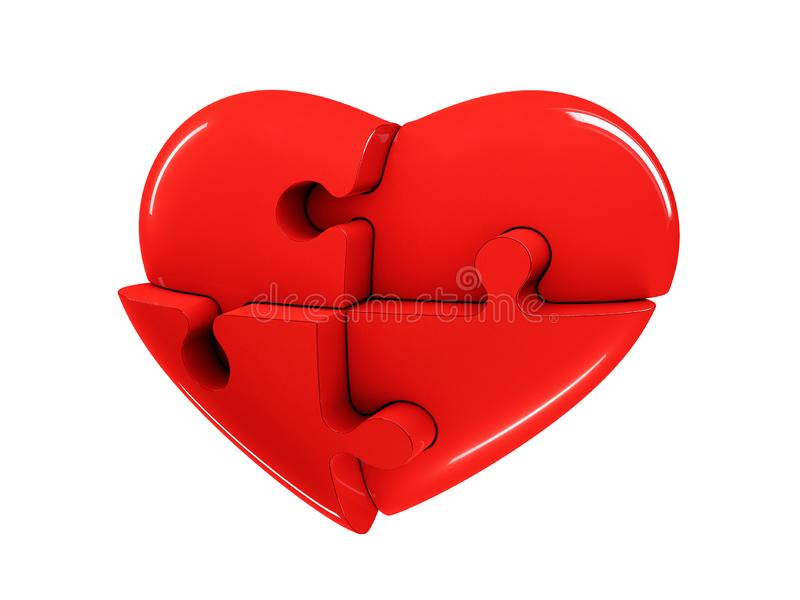 Red jigsaw puzzle heart diagram 3d illustration isolated on white background.  stock image