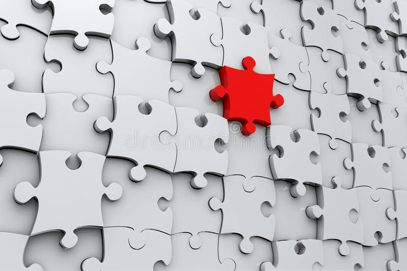 Red jigsaw puzzle piece vector illustration