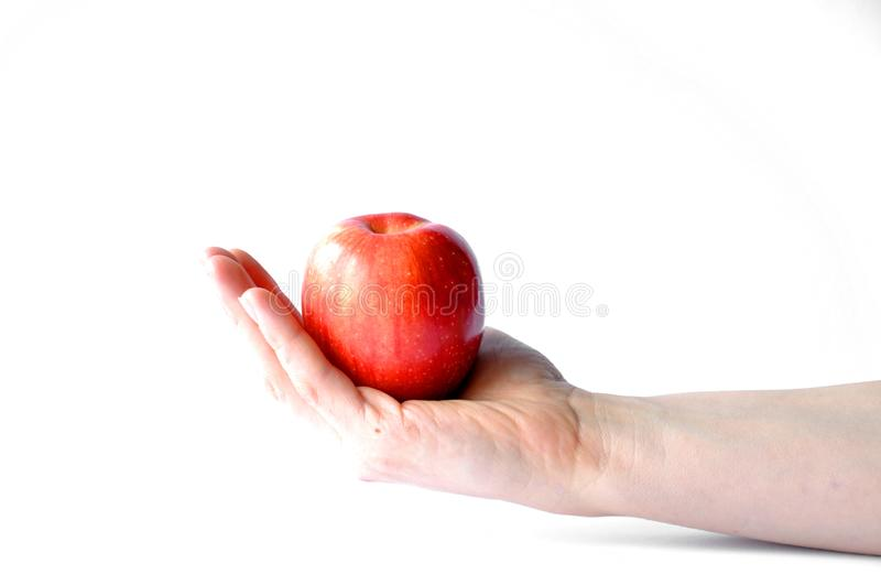 Apple in hand isolated on white background stock photography