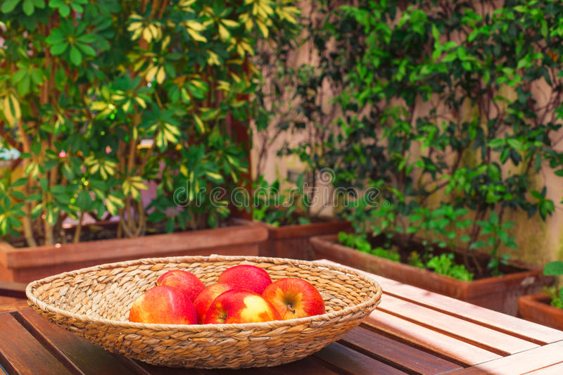 Red juicy apples on a wood table. Red juicy apples in a braided bowl on a wood table royalty free stock photos