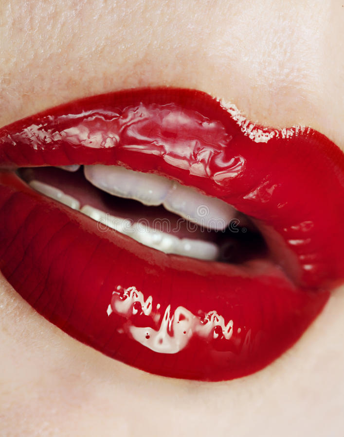 Red juicy lips stock image