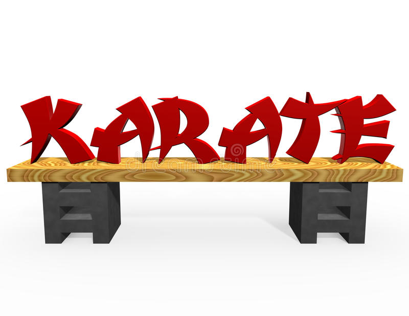 Red Karate Text. On a board, supported by two bricks, isolated on white background and floor with shadows vector illustration