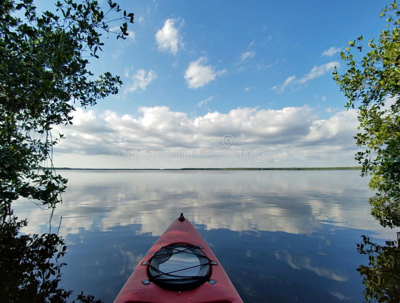 Red kayak on Coot Bay in Everglades National Park. royalty free stock photos