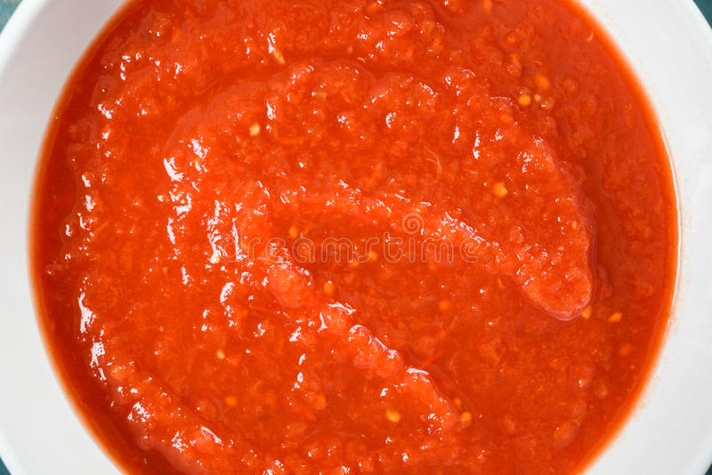 Red Ketchup Tomato Sauce. In White Bowl royalty free stock photo