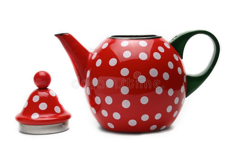 Red kettle for brewing tea.Teapot.Isolated on white background royalty free stock images