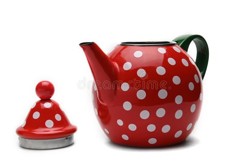 Red kettle for brewing tea.Teapot.Isolated on white background stock image