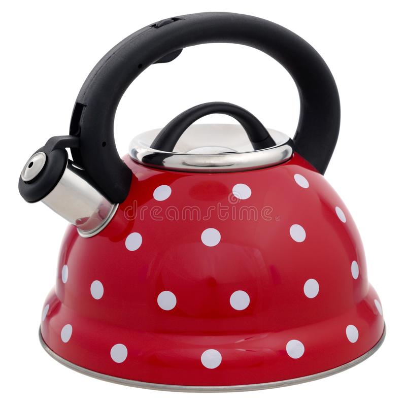 Red kettle with a pattern of white circles isolated on a white b. Ackground stock photos