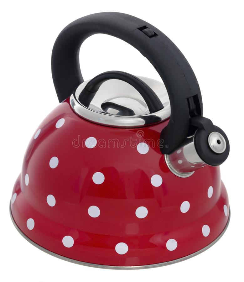 Red kettle with a pattern of white circles isolated on a white b. Ackground stock photo