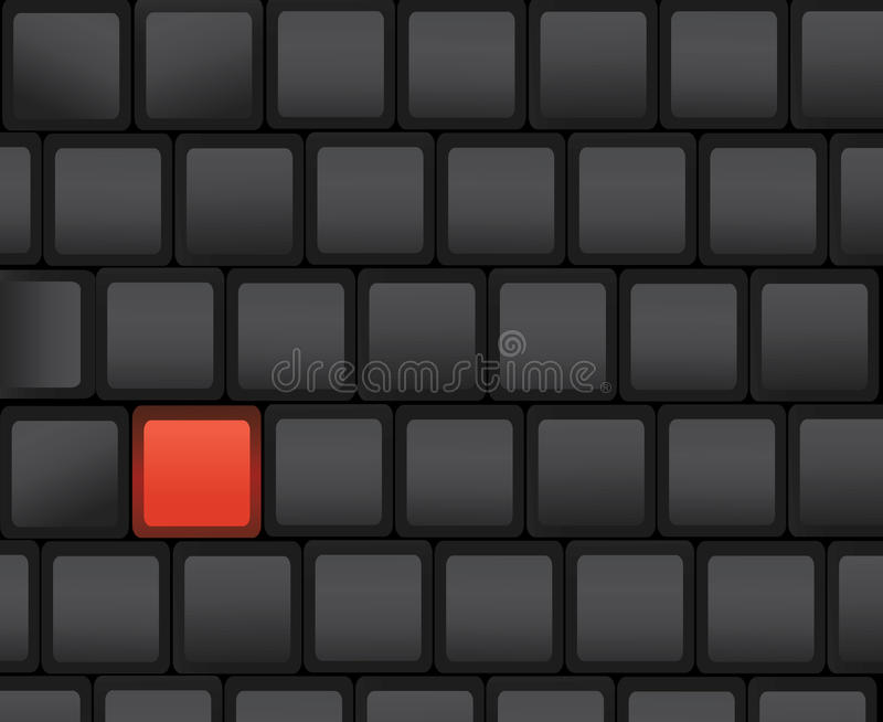 Red key. Black computer keyboard with a red key vector illustration