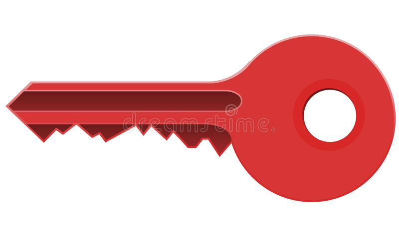 Red Key. Isolated on white, Vector vector illustration