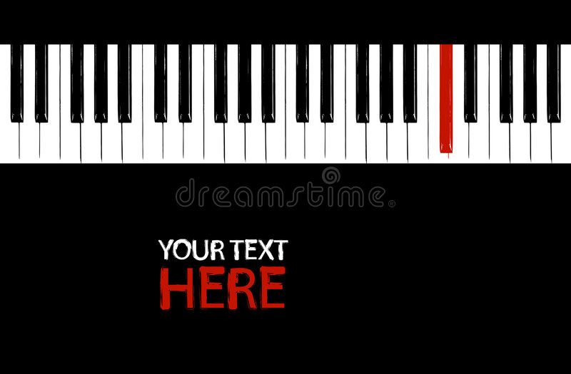 Red key. Grunge red piano key with copy space royalty free illustration