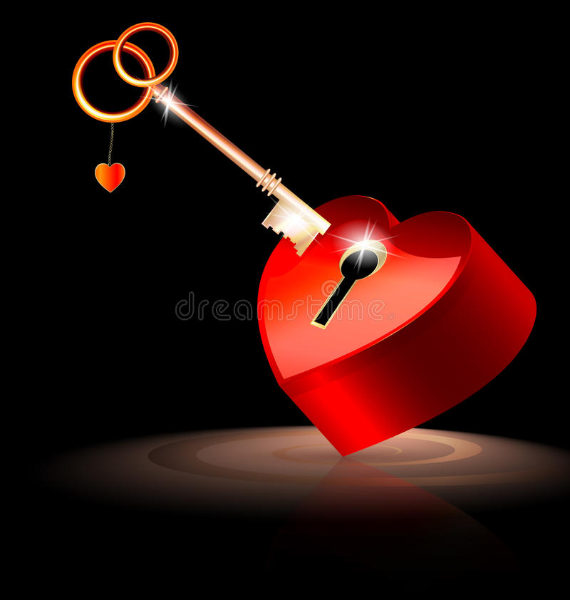Red key and lock. Large red heart-lock and a gold-red key royalty free illustration