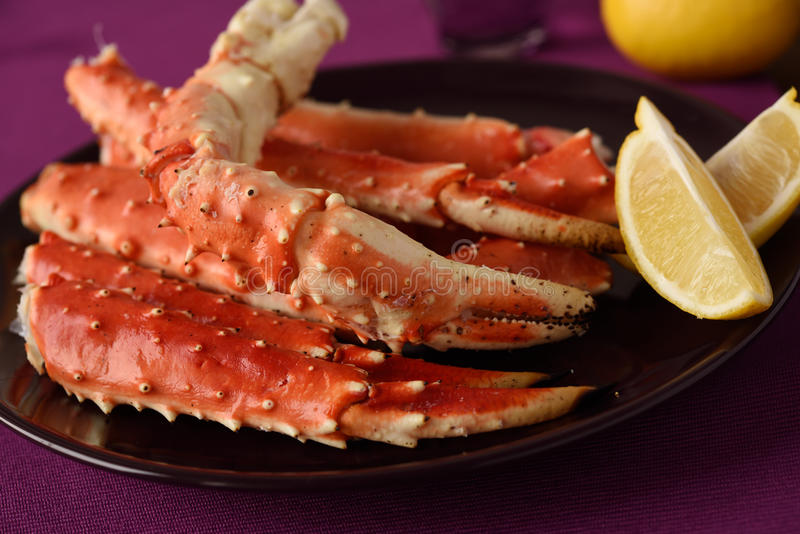 Red king crab legs royalty free stock image