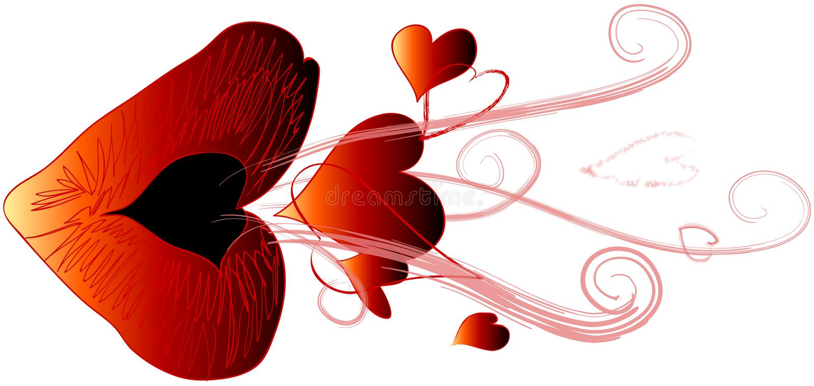 Red Kiss Blowing Hearts stock illustration